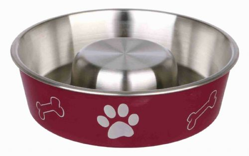 Stainless Steel Slow Feeder Dog Bowl - Red - Stops Dogs Gulping Food